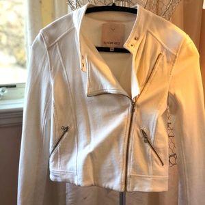 Aritzia Sunday Best White Side Zip Moto Jacket